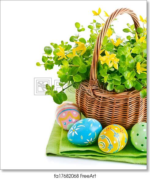 Free Art Print Of Easter Eggs In Basket With Spring Flowers Easter