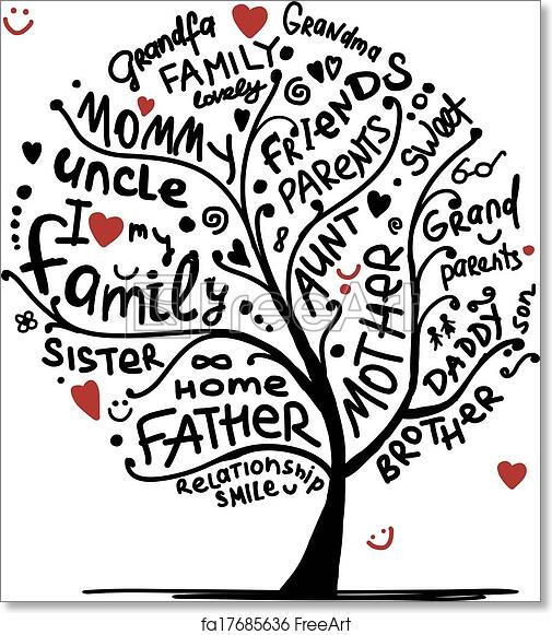 free art print of family tree sketch for your design freeart