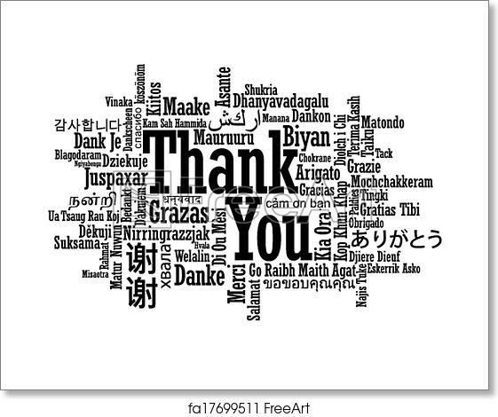 Free art print of Multilingual thank you word cloud. Thank