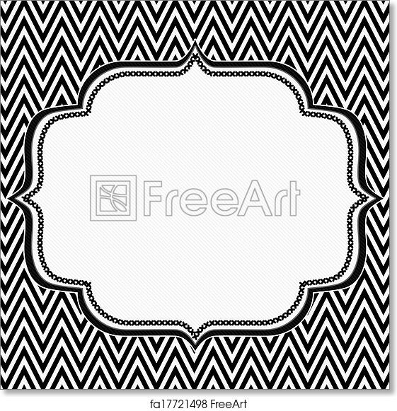 Free art print of black and white chevron frame with embroidery background