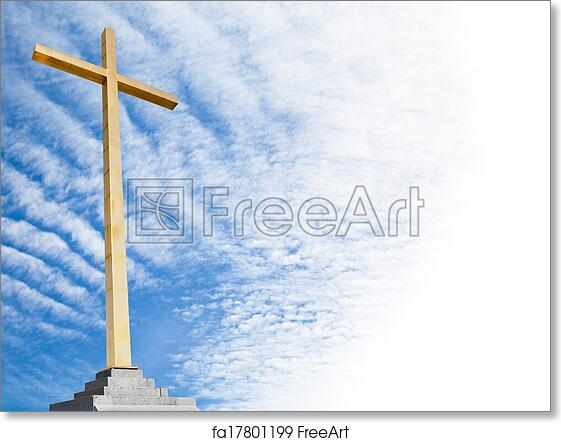 free art print of christian cross with sky background religion