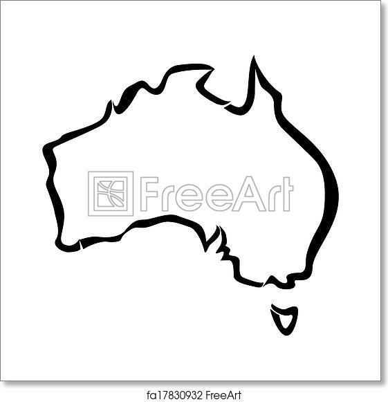 Free Art Print Of Black Outline Of Australia Map Freeart