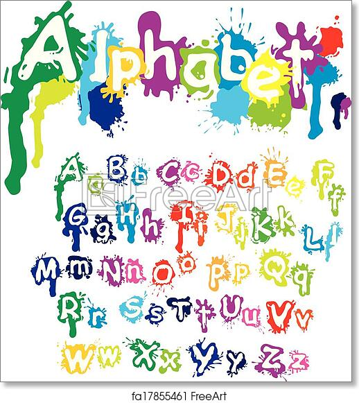 photo about Colorful Alphabet Letters Printable called Absolutely free artwork print of Hand drawn alphabet - letters are created of drinking water shades, ink splatter, paint splash font.