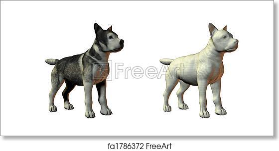 Free art print of Malamute dog 3d model