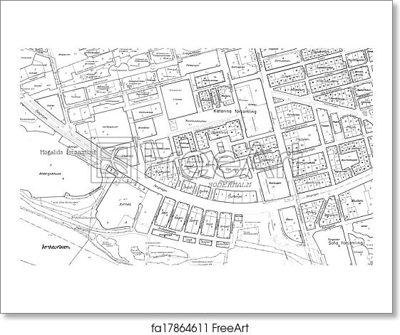 Free art print of old blueprint of part stockholm old blueprint of free art print of old blueprint of part stockholm malvernweather Images
