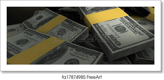 Free art print of US Dollar Notes Scattered Pile Closeup