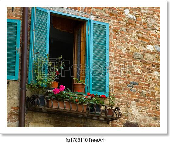 Teal Shutters: Free Art Print Of Turquoise Shutters, Italian Village
