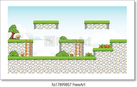 Free art print of 2D Tileset Platform Game