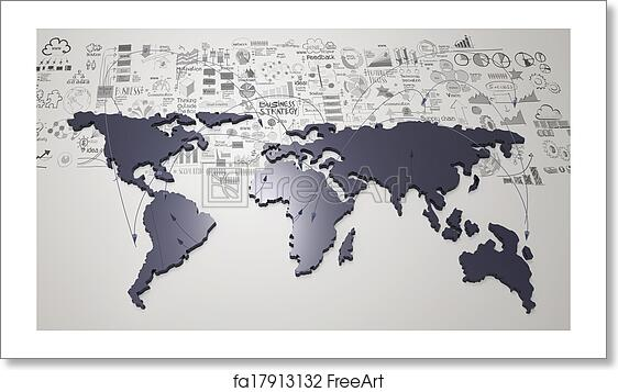 Free art print of Social network 3d on world map and hand drawn business  strategy as concept