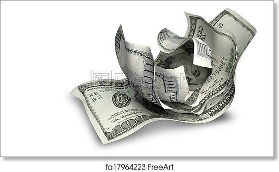 Free art print of Scrunched Up US Dollar Notes