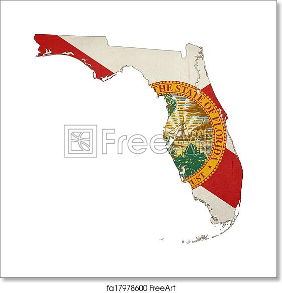 Map State Of Florida.Free Art Print Of State Of Florida Grunge Flag Map