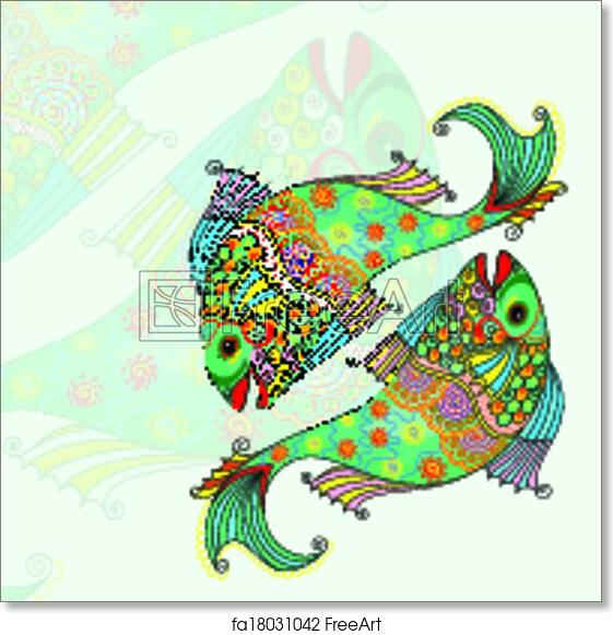 Free Art Print Of Pisces Zodiac Sign Vector Illustration Of Pisces