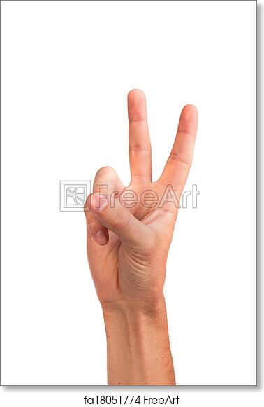 Free Art Print Of Hand With Two Fingers Up In The Peace Or Victory