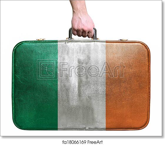 image relating to Flag of Ireland Printable referred to as No cost artwork print of Vacationer hand retaining classic leather-based generate bag with flag of Eire