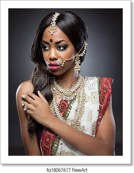 Free art print of Young Indian woman in traditional clothing with bridal  makeup and jewelry