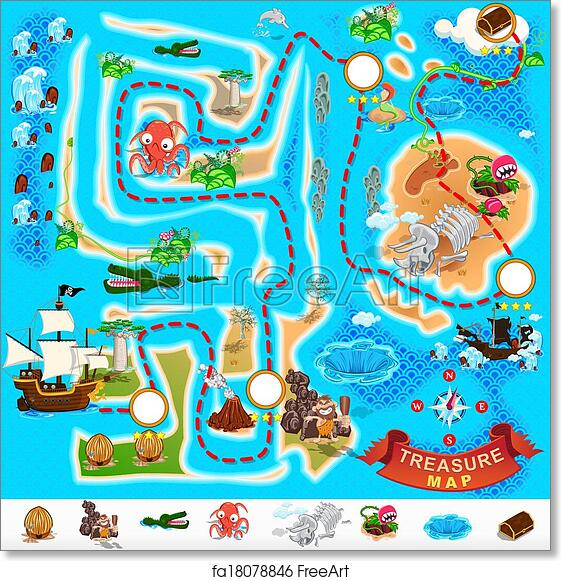 image relating to Free Printable Pirate Treasure Map titled Absolutely free artwork print of Pirate Treasure Map