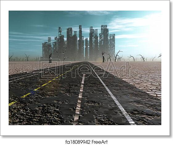 Free Art Print Of Weathered Road Leads Into Abandoned City