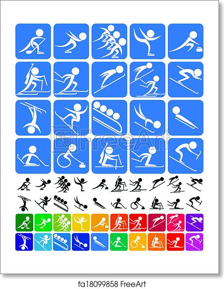 Free Art Print Of Winter Sports Symbols Set Of 20 Pictograms Of The