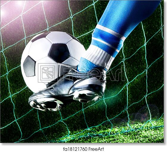 free art print of foot kicking soccer ball foot kicking soccer ball