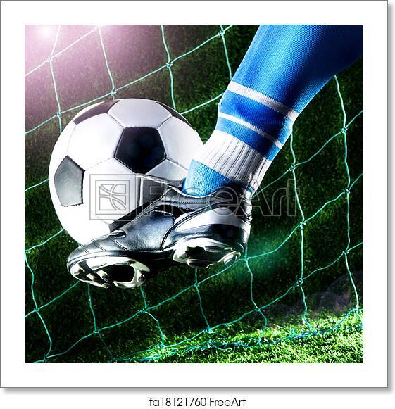 Free Art Print Of Foot Kicking Soccer Ball Foot Kicking Soccer Ball On Playing Field With Dark Background Freeart Fa18121760