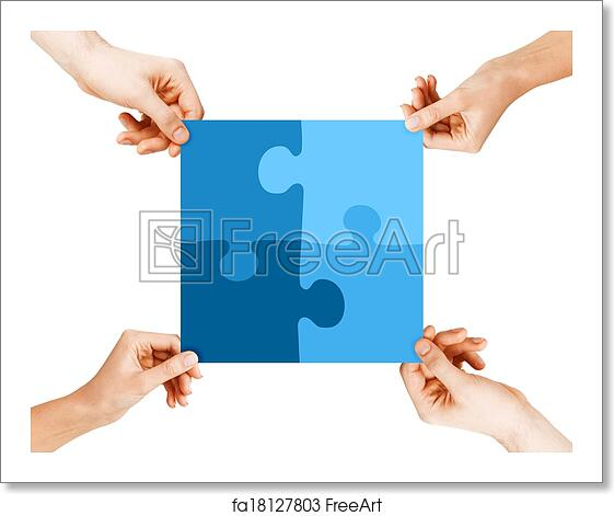 free art print of four hands connecting puzzle pieces business