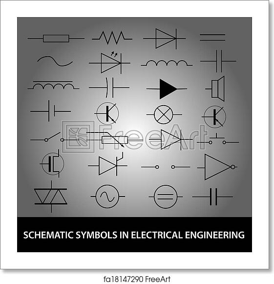 Free Art Print Of Schematic Symbols In Electrical Engineering Icon