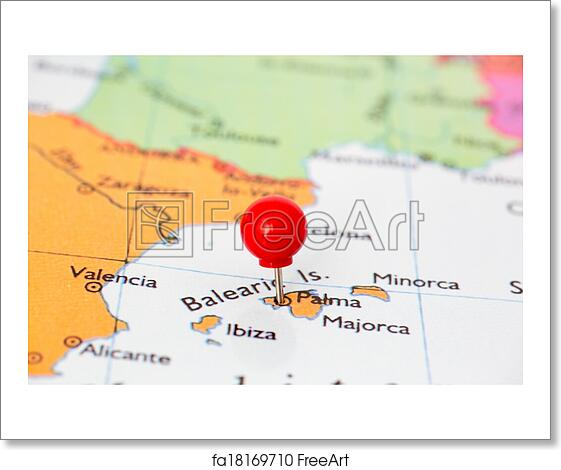 Free Art Print Of Red Pushpin On Map Of Majorca Round Red Thumb