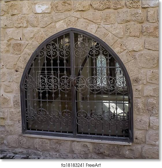 free art print of window with decorative lattice window with