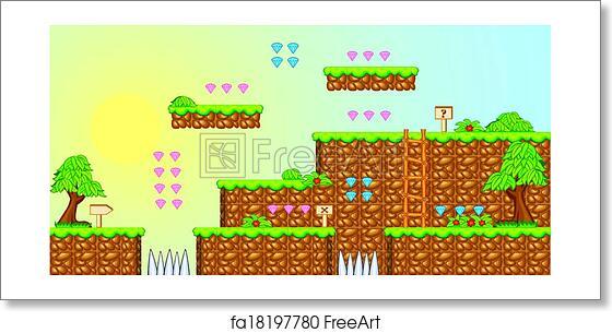 Free art print of 2D Tileset Platform Game 3