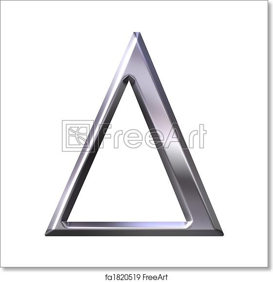 3d silver Greek letter Delta isolated in white