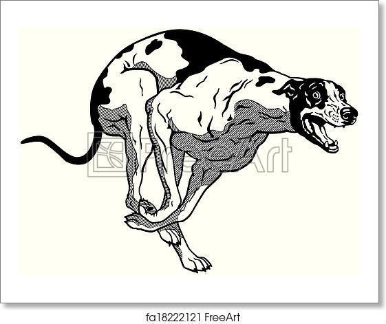 Free Art Print Of Runnin Greyhound Black White