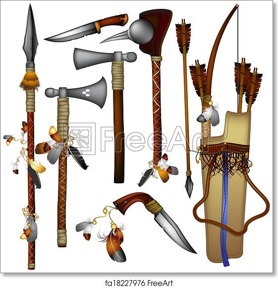 Free Art Print Of Set Of Weapons American Indian Weapons