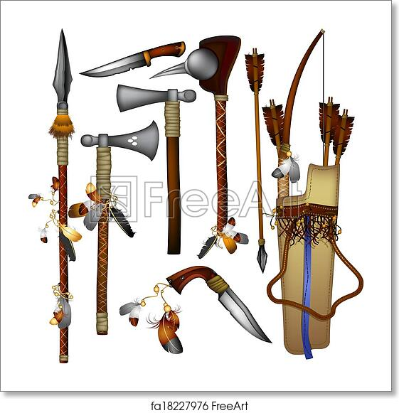 Free Art Print Of Set Of Weapons American Indian. Weapons ...