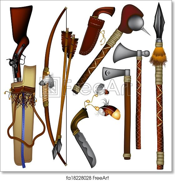 Free art print of Set of weapons American Indian