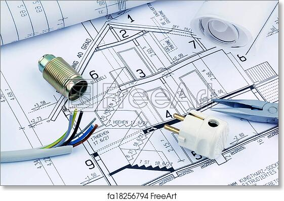 Free art print of blueprint for a house electrical an architects free art print of blueprint for a house electrical malvernweather Images