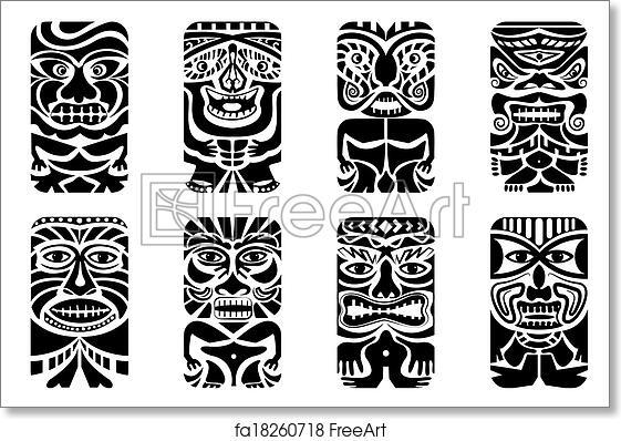 photo about Tiki Mask Printable called Absolutely free artwork print of Tiki Mask