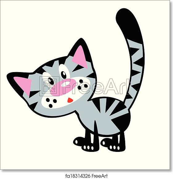 Free Art Print Of Cartoon Cat Cartoon Cat Simple Isolated Picture For Babies And Little Kids Freeart Fa18314326