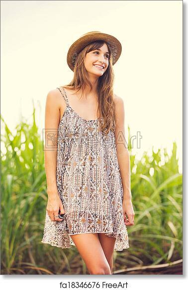 Free Art Print Of Beautiful Young Woman Outdoors In Sun Dress