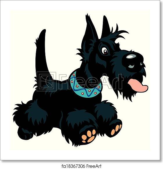 Free Art Print Of Cartoon Scottie Cartoon Dog Scottish Terrier