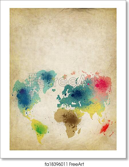 Free art print of world map with colorful splash on old paper free art print of world map with colorful splash on old paper gumiabroncs Image collections