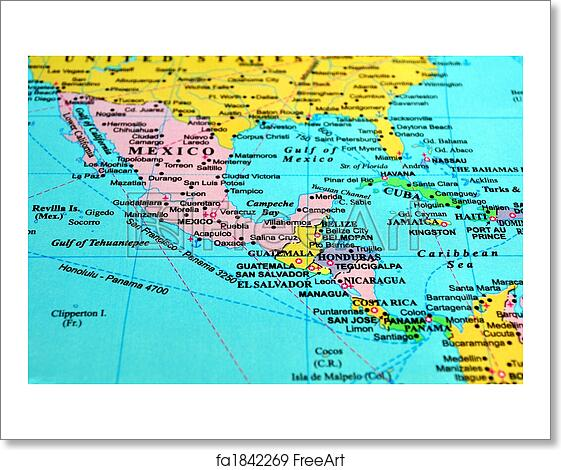 Free art print of Central America map Central America map
