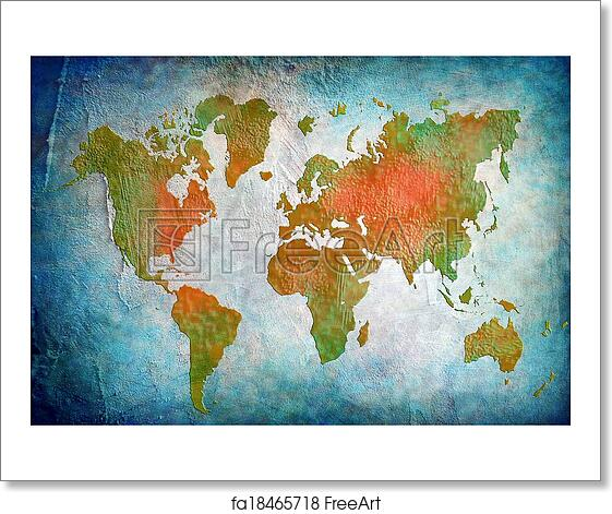 Free art print of vintage world map with blue background freeart free art print of vintage world map with blue background gumiabroncs Gallery