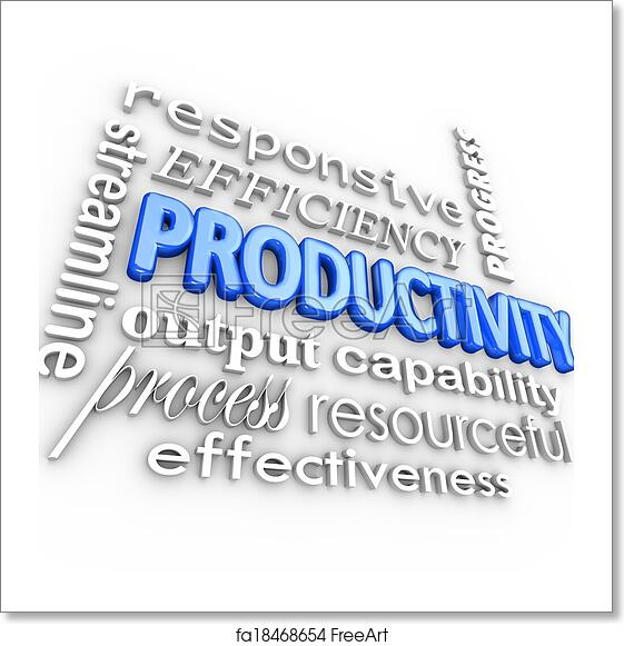 free art print of productivity word and related terms such as