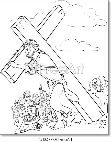Free Art Print Of Coloring Page Jesus Carrying Cross Outlined