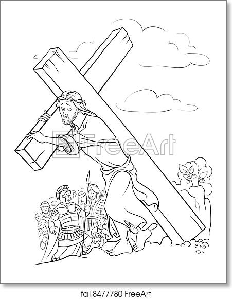 Free art print of Coloring page. Jesus carrying cross