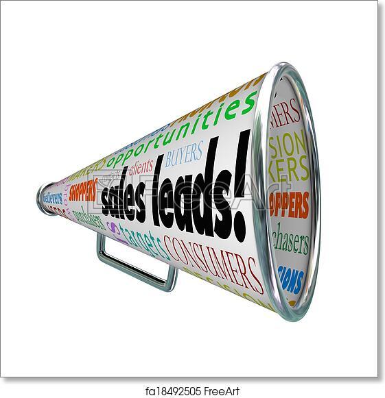 free art print of sales leads megaphone bullhorn words new prospects