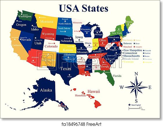 Free art print of USA map with states and capital cities