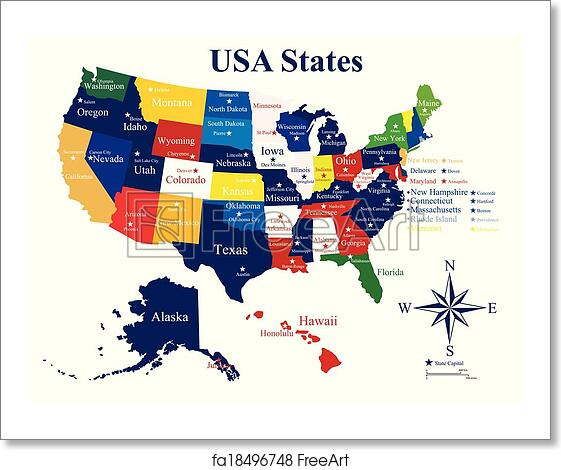 Free art print of USA map with states and capital cities | FreeArt ...