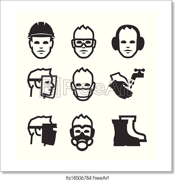 free art print of job safety icons simple set of job safety related