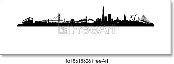 free art print of san francisco skyline black and white vector of